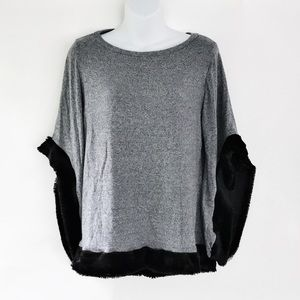 Go Couture Trimmed Sweater Heather Blue Medium